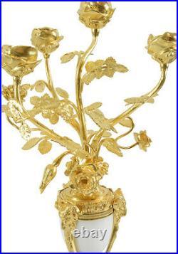 CHANDELIERS BOUQUET Kaminuhr Empire clock bronze horloge cartel pendule bougeoir