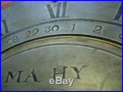 Cadran horloge date etain 18 eme quantieme clock uhr cartel lanterne coq