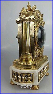 Caisse, cabinet de pendule XVIII Epoque louis XVI en bronze doré, marbre blanc