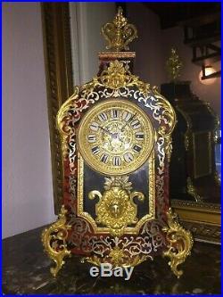 Cartel Boulle Pendule Bronze D'epoque Nap Iii, Ht 48