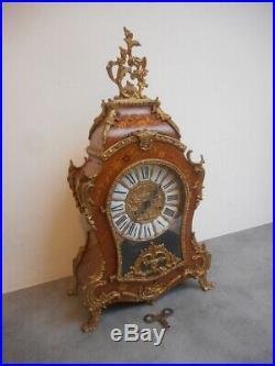 Cartel Horloge Pendule Style Louis XV En Bois De Rose Et Bronze
