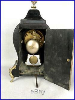 Cartel Petit Modele D Epoque Napoleon III En Marqueterie Boulle Orné De Bronze