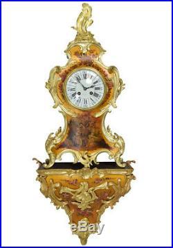 Cartel Vernis martin. Kaminuhr Empire clock bronze horloge antike uhren pendule