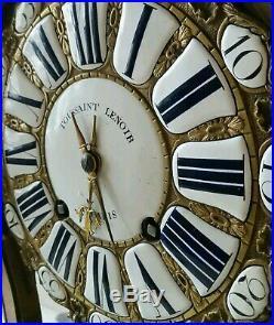 Cartel époque 18ème Siècle 18th Mouvement Signé Toussaint Clock c1750 pendule