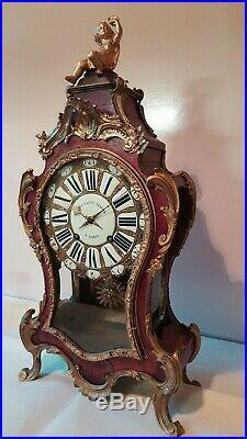 Cartel époque 18ème Siècle 18th Vitre Mouvement Signé Clock c1750 pendule