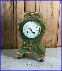 Cartel /pendule / Horloge Ancienne En Bois Ornée De Bronze D'époque Napoléon III