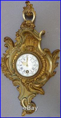 Cartel pendule en bronze doré 19e siècle style Louis XV