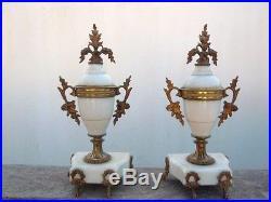 Cassolettes marbre blanc bronze style louis XVI d'époque 19ème