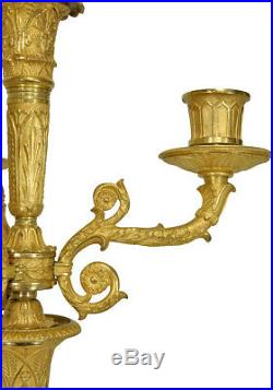 Chandeliers. Kaminuhr Empire clock bronze horloge bougeoir cartel uhren pendule