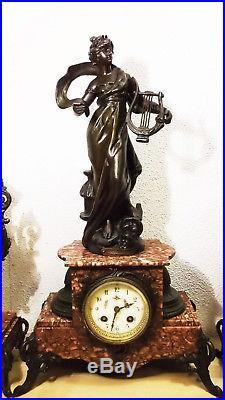 Collection Superbe pendule MUSE CHAMPETRE régule sur marbre signée Louis MOREAU