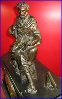 Conséquente pendule bronze, Napoléon III, mouvement Rollin à Paris