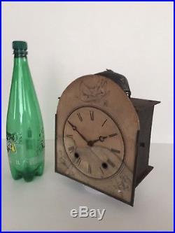 Curieux Petit Mécanisme D'horloge Comtoise Cadran En Parchemin Signée 1873