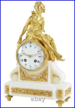 DIANE CHASSERESSE. Kaminuhr Empire clock bronze horloge antique pendule uhren