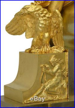 Diane et Hébé. Kaminuhr Empire clock bronze horloge cartel uhren pendule
