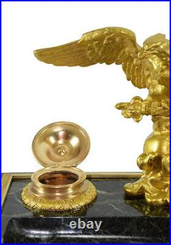 ENCRIER AIGLE. Kaminuhr Empire clock bronze horloge antique pendule Inkwell