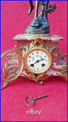 Emile BRUCHON Horloge Statue cheminée & Vases Pendule Art Nouveau régule Bronze
