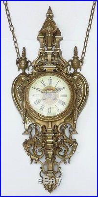 Énorme CARTEL Mural Ancien en Bronze Napoléon III XIXème siècle Horloge Pendule