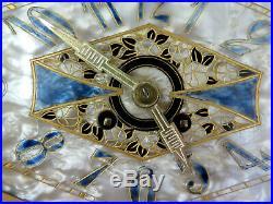 Exceptionnelle Pendule Art Déco 1930 nacre, emaux, bronze, marbre. Set clock