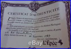 Exceptionnelle Pendule de voyage officier L'épée a TOURBILLON N°81 complete