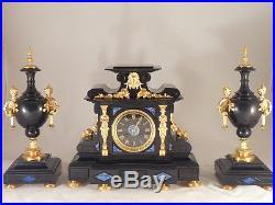 Exceptionnelle garniture de cheminée Napoléon III pendule clock uhr reloj