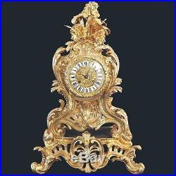 GRANDE PENDULE BRONZE DORE STYLE LOUIS XV D' EPOQUE NAPOLEON III FIN 19e SIECLE