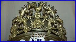 GRANDE & RARE HORLOGE LANTERNE DU 18eme SIECLE A CARTOUCHES CADRAN 30 CM