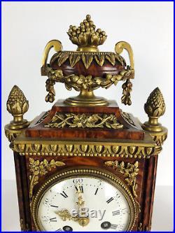 Garniture De Cheminée D'époque Napoleon III En Bois De Thuya De Style Louis XVI