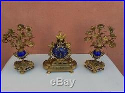 Garniture De Cheminée En Bronze Doré XIX éme Mouvement dumoullineur ch. Molle