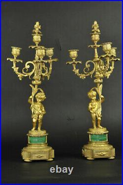 Garniture De Cheminée En Malachite Et Bronze Doré Signée Raingo Frères à Paris