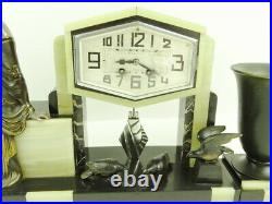 Garniture de cheminée Art Déco Uriano pendule horloge pendulum clock Uhr 1925's