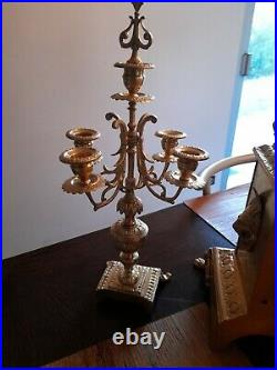 Garniture de cheminée en bronze doré fin XIXeme siècle début xxeme