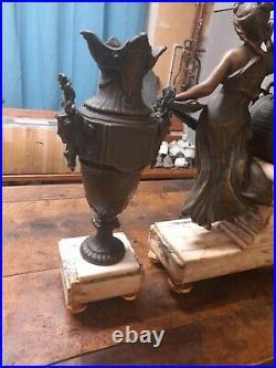 Garniture de cheminée pendule marbre napoléon III