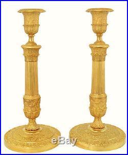 Grand bougeoirs. Kaminuhr Empire clock bronze horloge pendule chandelier