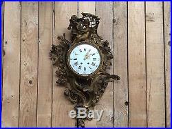 Grand cartel d'applique Louis XV / Cartel en bronze / Pendule murale / Horloge