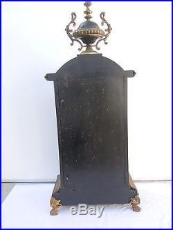 Grand cartel horloge pendule bois noirci decor bronze doré d'époque 19ème