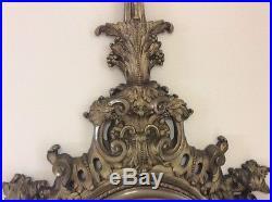 Grand cartel pendule ancien en bronze 19 eme siecle de style louis 16 long 63cm
