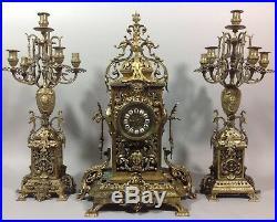 Grande Garniture cheminée Napoléon III V1880 Pendule + 2 candélabres Bronze 27Kg