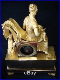 Grande Pendule Empire bronze doré''La Charité'' H 50cm (french clock ormolu)