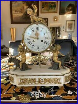 Grande Pendule En Bronze Dore D'epoque Napoleon III A Restaurer
