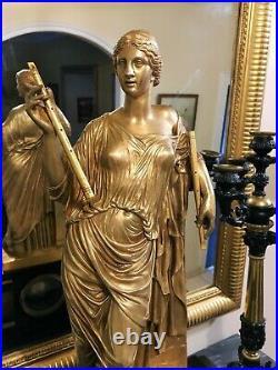 Grande Pendule XIXem Susse Frères surmontée d'un Bronze Doré Euterpe