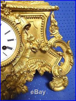 Grande pendule (54 cm) en bronze dorée d'époque 19 siècle