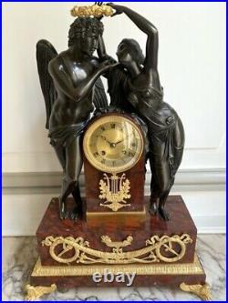 Grande pendule Empire bronze et marbre