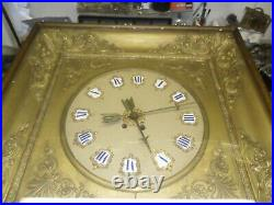 Grande pendule mural second Empire, oeil de boeuf, horloge, pendule, mécanisme