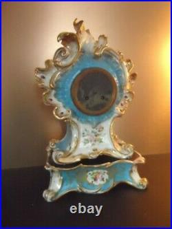 Grosse Pendule De Cheminee Napoleon III Porcelaine De Paris Rocaille Signee Ma