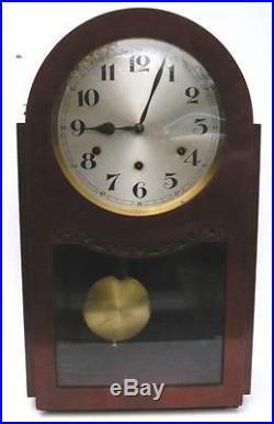 Grosse pendule borne sonnerie et carillon placage acajou clock fonctionne