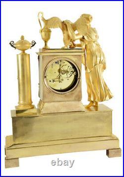 HEBE ET JUPITER. Kaminuhr Empire clock bronze horloge antique pendule uhren