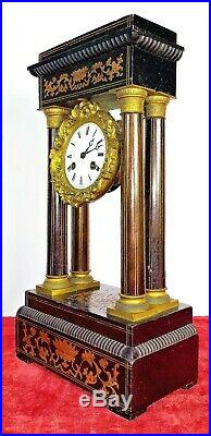 Horloge A Colonnes. Bois Et Bronze. Machinerie Vincent-cie. France Circa 1850