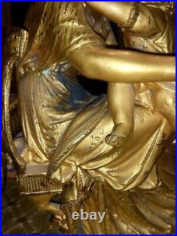 Horloge Cheminee Bronze, Regule Doré Signé PH MOUREY 1864 Manuel Clock Kaminuhr