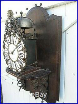 Horloge Lanterne Capucine Complication Bronze Pendule Comtoise Louis XIV Clock