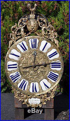 Horloge Lanterne Louis XIV fleurs de Lys Signé XVIIIe siècle pendel clock